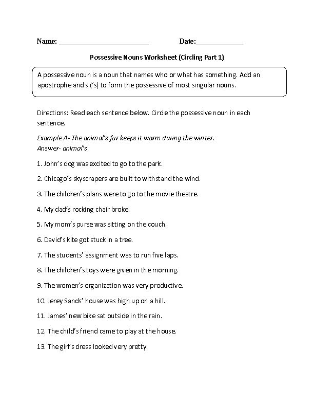 Circling Possessive Nouns Worksheet