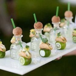 Baby Patron Shots! (I'd have to mix in some margarita mix OR at least some sweet & sour mix b/c as much as I love Patron, I can't do it straight up!!) These would make the cutest mini-margaritas for a party though... :)))
