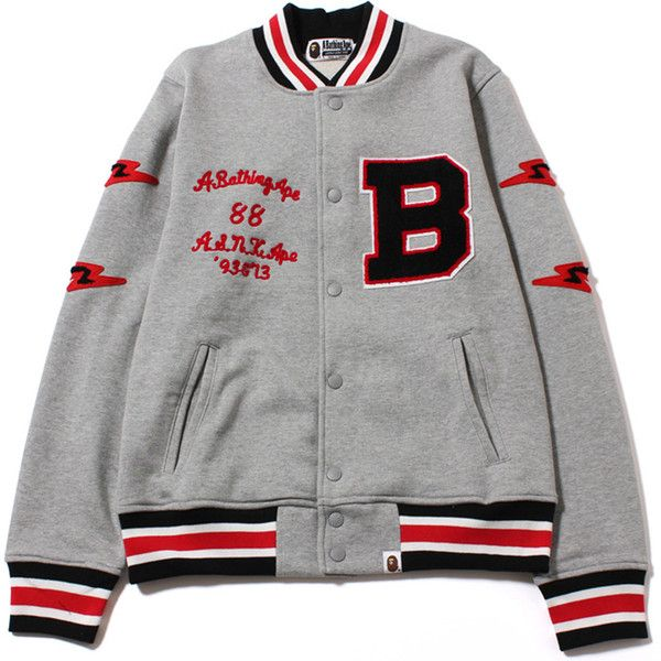 SWEAT VARSITY JACKET (1.295 BRL) ❤ liked on Polyvore featuring outerwear, jackets, tops, sweatshirts, cotton jacket, college jacket, letterman jacket, varsity bomber jacket and varsity-style bomber jacket