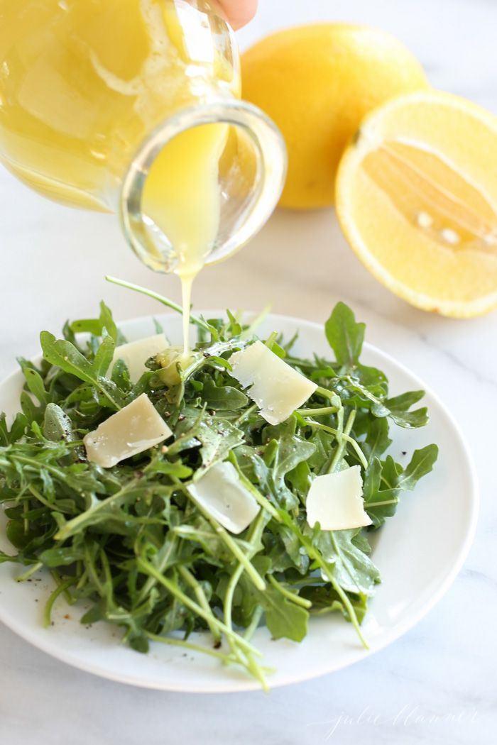 Quick and easy arugula salad with lemon vinaigrette recipe
