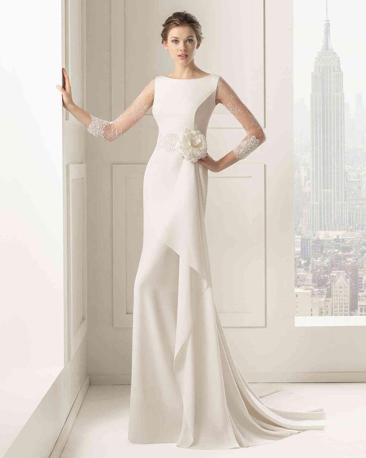 Elegant Bateau Neck 3/4-Length Sleeve Sheath Column Wedding Dress Aro0076