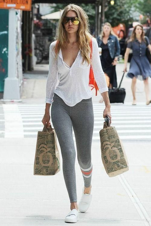 Gigi Hadid New York City July 13 2016. Sneaker OutfitsLegging OutfitsGrey  Leggings OutfitYoga Pants