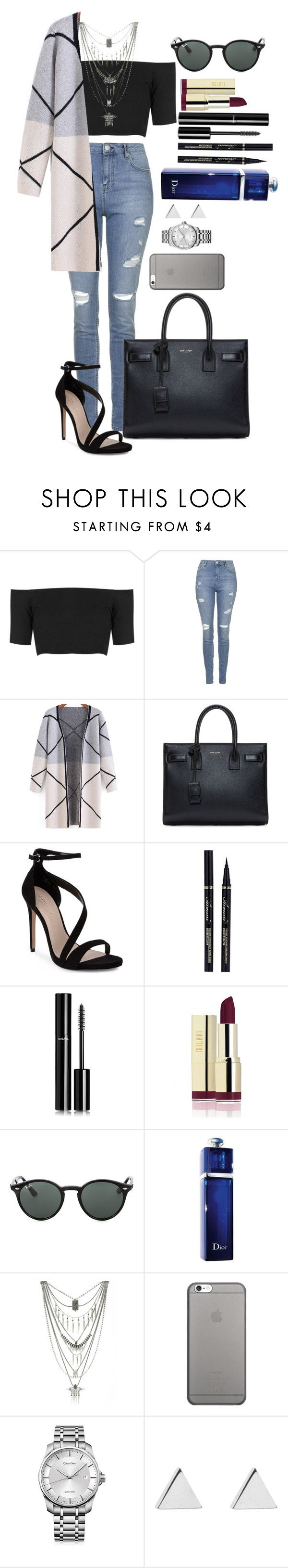"""Untitled #1454"" by fabianarveloc on Polyvore featuring Topshop, Yves Saint Laurent, Carvela, Chanel, Ray-Ban, Christian Dior, Lucky Brand, Native Union, Calvin Klein and Jennifer Meyer Jewelry"