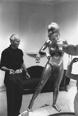 Shirley Eaton on the set of Goldfinger