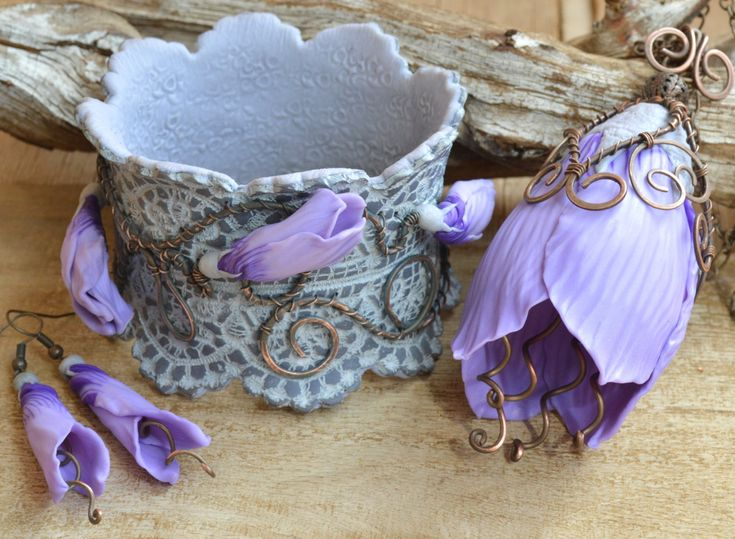 Lilac flower jewelry Lilac flower necklace large pendant Wide bracelet Long dangle earrings Exclusive jewelry Polymer clay jewelry for women by HandmadeByAleksanta on Etsy
