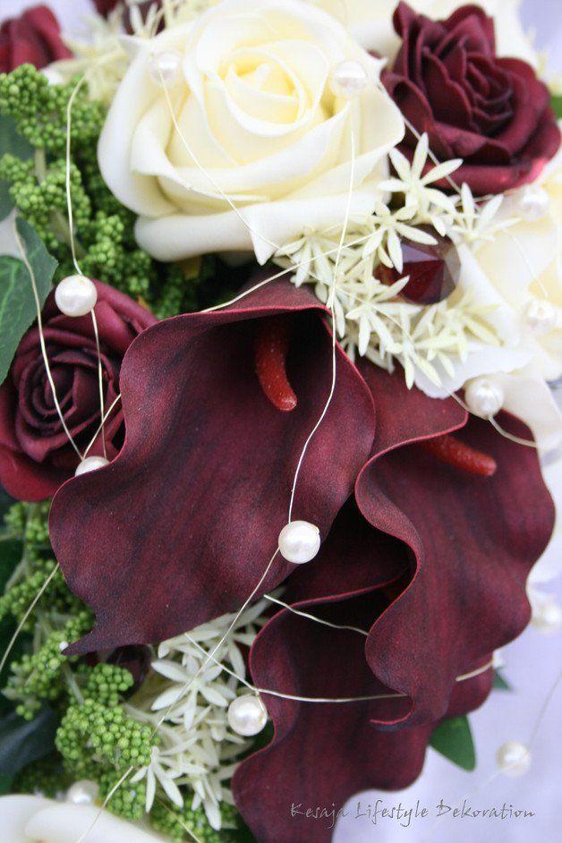 Brautschmuck - Tropfen Brautstrauß mit Calla & Rosen - ein Designerstück…