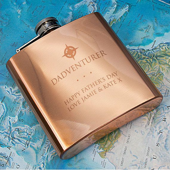 Dadventurer Hip Flask - Copper Hip Flask - Father's Day Gift - Father's Day Present - Drinking Gift - For My Father - FREE UK DELIVERY