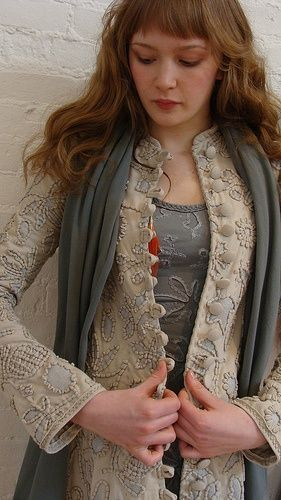Specialty-stitched coat from Alabama Chanin
