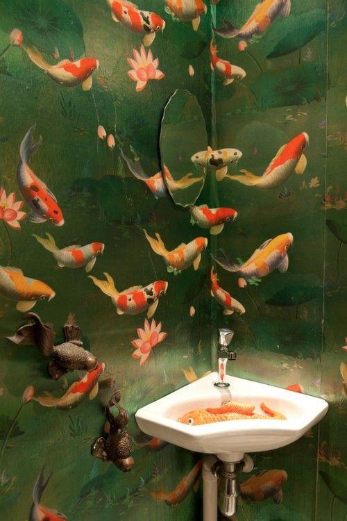 Koi and lotus wallpaper the wunderkammer bathroom for Koi wallpaper for walls