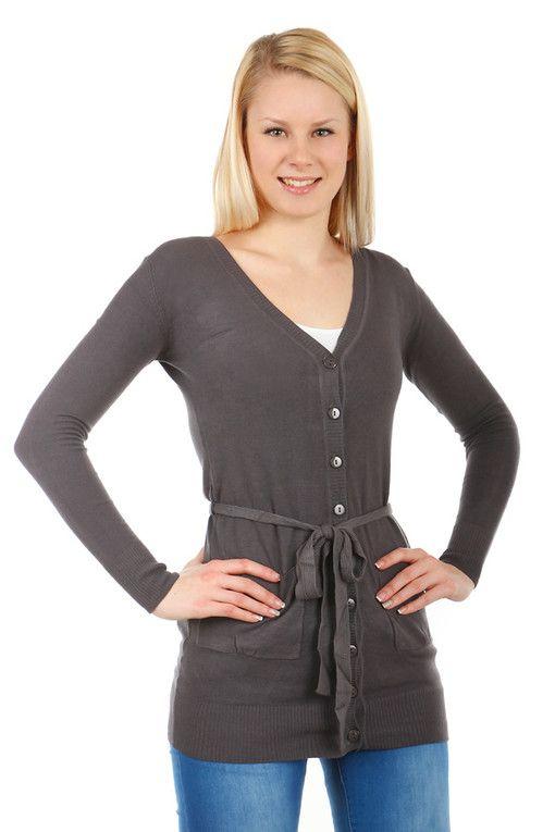 Delší dámský propínací svetr s páskem  09dc2208e8