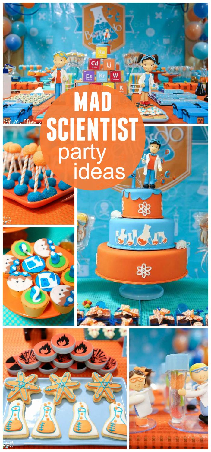 A mad scientist boy birthday party to introduce children to the world of science with fun experiments!  See more party planning ideas at CatchMyParty.com!
