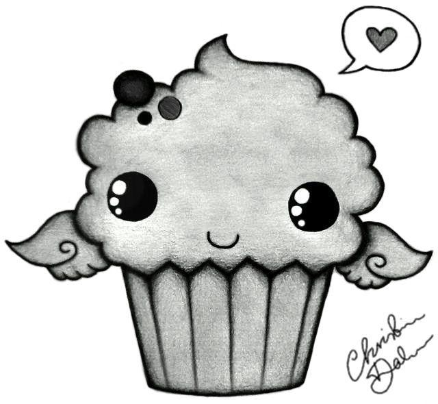 Cute Drawings: Cute Cupcake By 47flowers