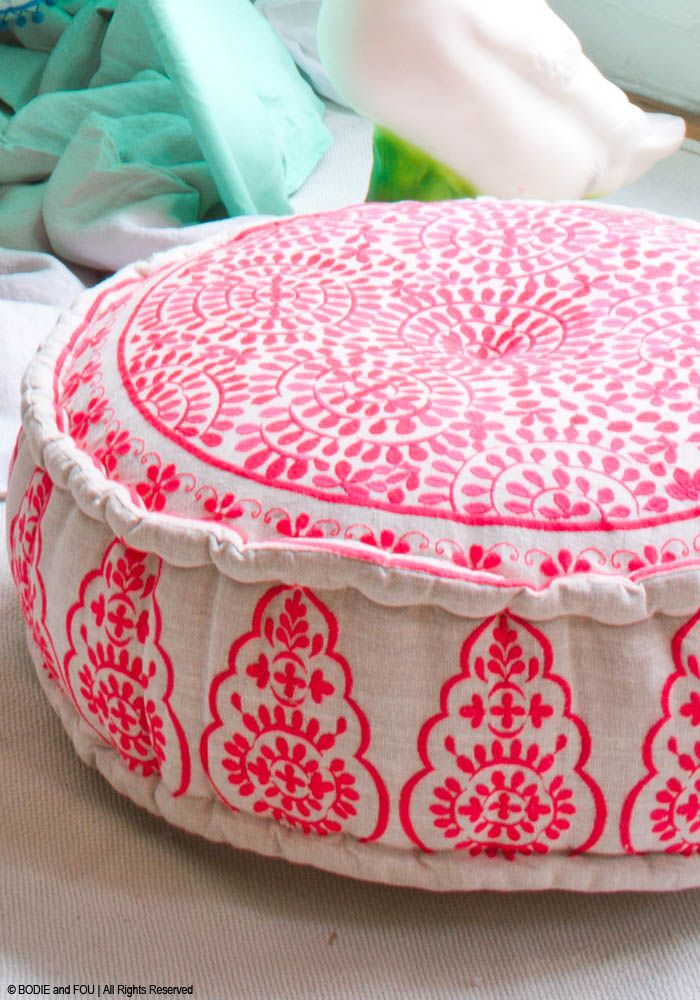 Nomad Embroidered Linen Pouffe, Coral — Bodie and Fou