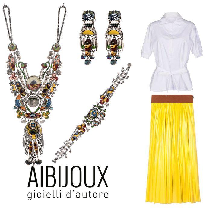 Collane, bracciali e orecchini Ayala Bar, gonna Marni, camicia Prada #AIBIJOUX #AyalaBar #outfits #fashionjewelry #ilnostrooutfit