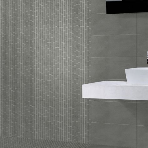 Porcelain mosaic with concrete effect, nice to see it as decoration of wall and flooring in bathrooms. Worked with linear cutting.  #mosaico #mosaic #tiles #bathroom #bagno #cement #cemento #muro #wall #casa #home #decoration #decorazione #design #interiordesign #architecture #architettura #italia #italy #ceramica #ceramics #archiproducts