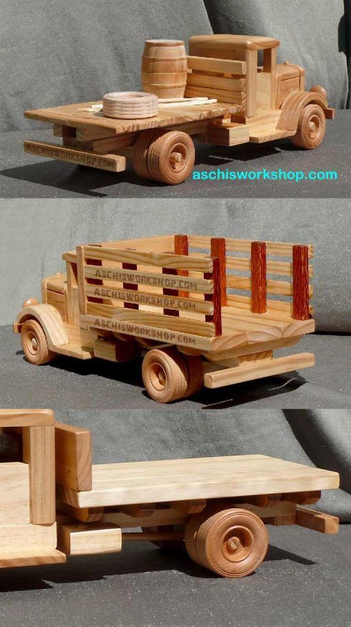 Plan# 214 Scale 1:20 -Tuff Truck Pulp Wood Trailer. Through the giant forests of North America, Canada and in the Forrests of Australia, big log trucks are moving long loads. This cleverly designed trailer has a pivoted bogie, which will adjust for uneven terrain