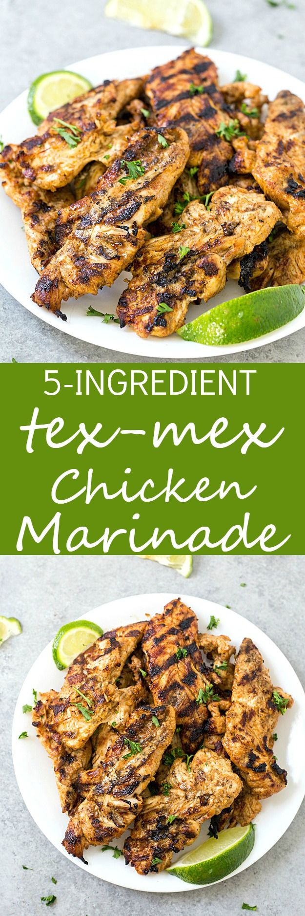 5-Ingredient Tex-Mex Chicken Marinade - The absolutely best chicken marinade with only 5 ingredients! This marinade produces so much flavor and keeps the chicken incredibly moist. Perfect for salads, sandwiches, you name it!  via @galmission
