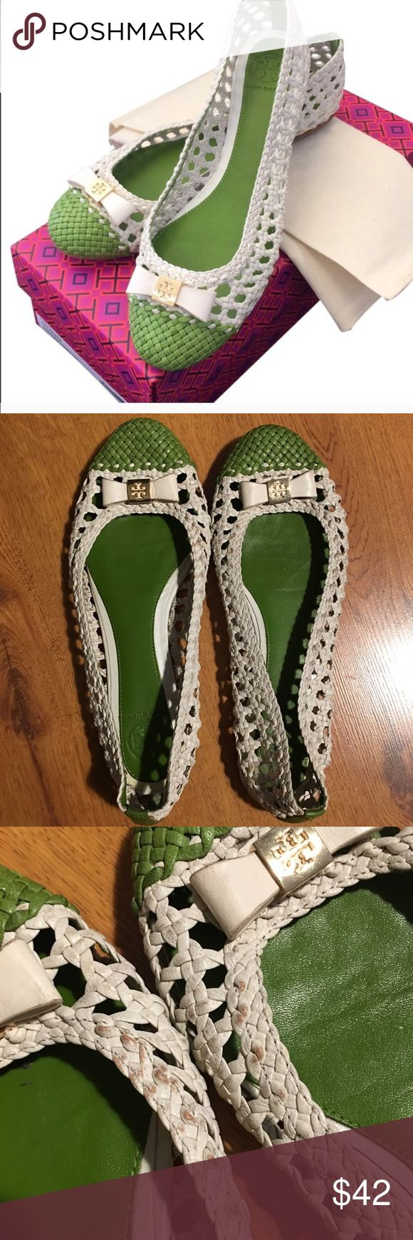 Tory Burch Carlyle Woven Leather Flat Bows Super cute Flats from Tory Burch with green and white woven leather and bows with logo on top. Good used condition, worn only a handful of times, but does have some wear showing on the white leather (see photos) and a piece of the edging on the back right heel green strip is peeling - otherwise plenty of life left. Tory Burch Shoes Flats & Loafers