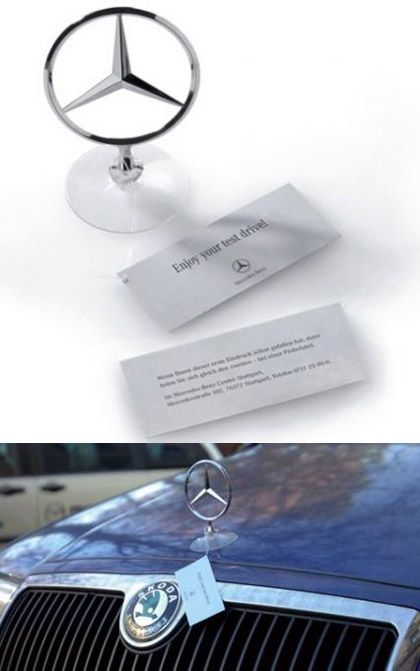I thought this was a great idea to give your customers when you test drive a Mercedes.  Or just to hand out, it would really improve brand recognition.