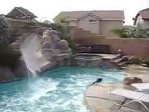 Whenever the owners of this house with a pool came home, they found puddles of water near their pool. They believed the neighbors kids waited until they went out, to use the pool....so they installed a camera and this is what they saw....so funny!