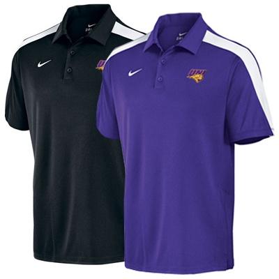 Nike purple or black polo with white stripes on shoulders. $60.00: Nike Purple