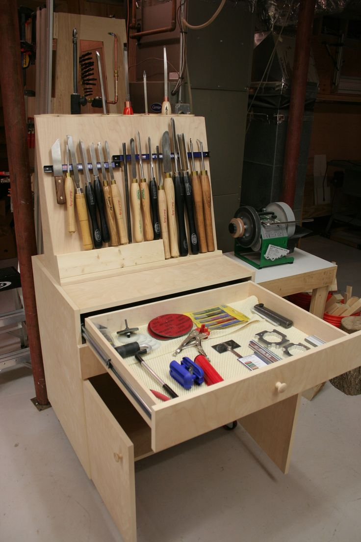 Lathe turning tools rolling cabinet