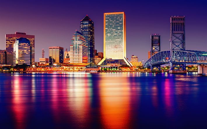 Download wallpapers Tampa, night, cityscape, skyscrapers, city lights, Florida, USA, United States of America