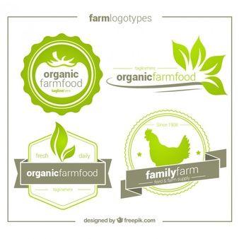 Pack de cuatro logos ecológicos dibujados a mano