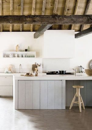 = white rangehood and open shelf = pale grey and white kitchen