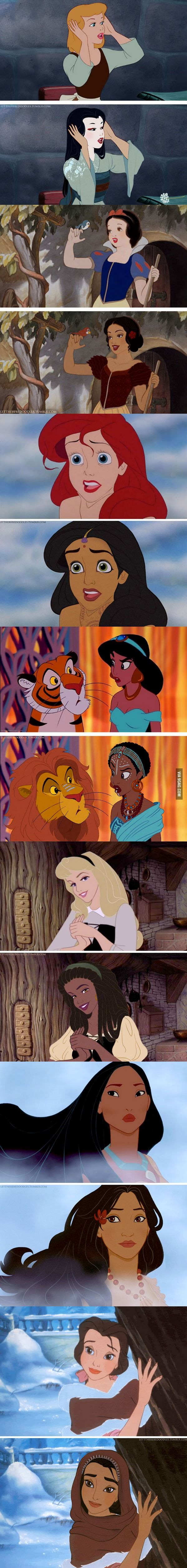 An Artist Re-imagined Disney Princesses With Different Races