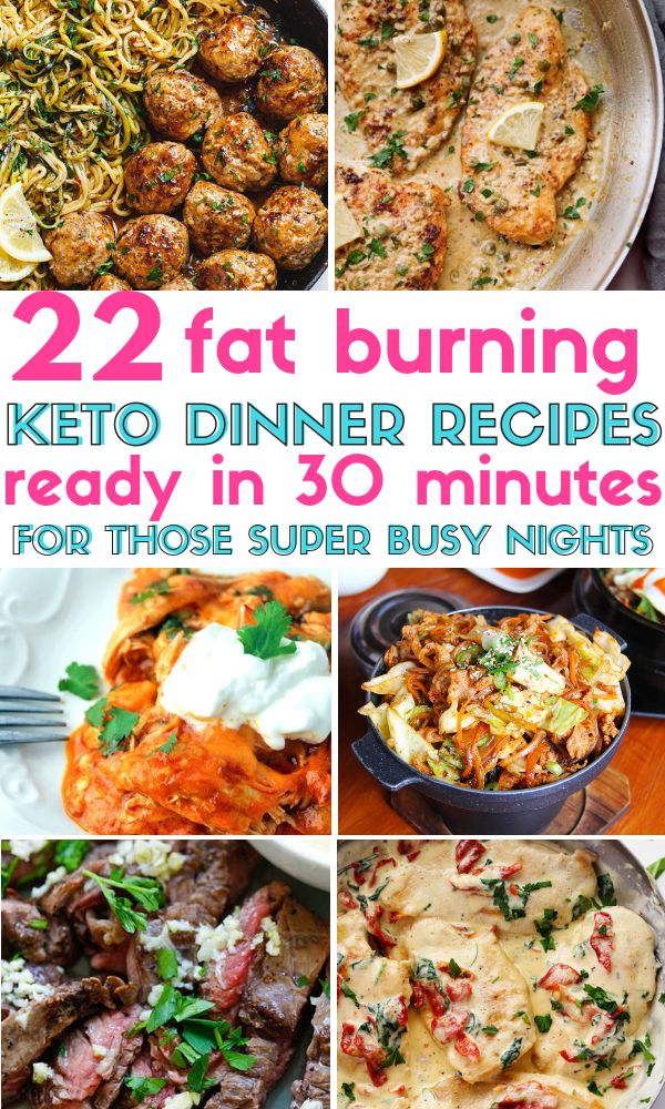 22 Keto & Low Carb Dinner-Rezepte, die in 30 Minuten oder weniger fertig sind! Diese E …   – Keto dinner