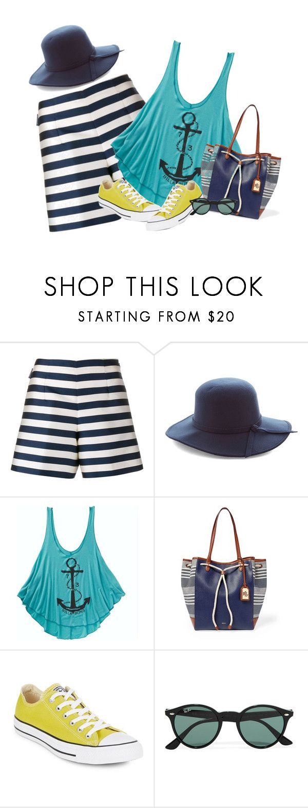 """""""Nautical Look!"""" by ohny ❤ liked on Polyvore featuring Moncler, Billabong, Lauren Ralph Lauren, Converse and Ray-Ban"""
