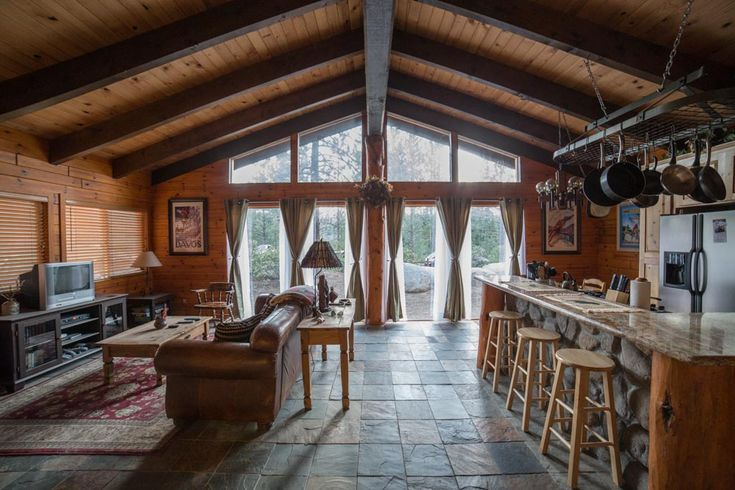 Stone Slate Tile Floors And Tng Knotty Pine Walls High