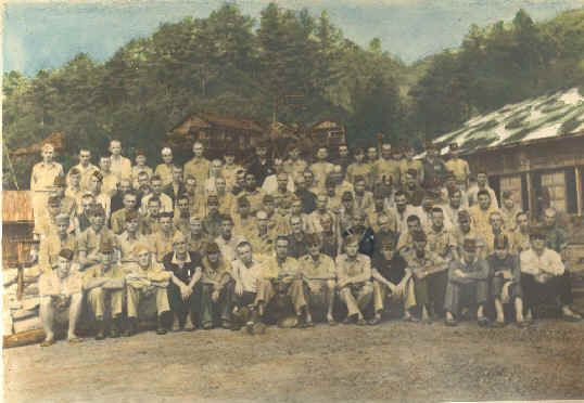 In this picture, the POWs at Omine Machi Camp are shown.  Pfc. William Hauser and Pvt. Ralph Shaffer of B company were prisoners in the camp.  Sgt. Owen Sandmire and Pvt. Ed DeGroot of A Company were also POWs in the camp.