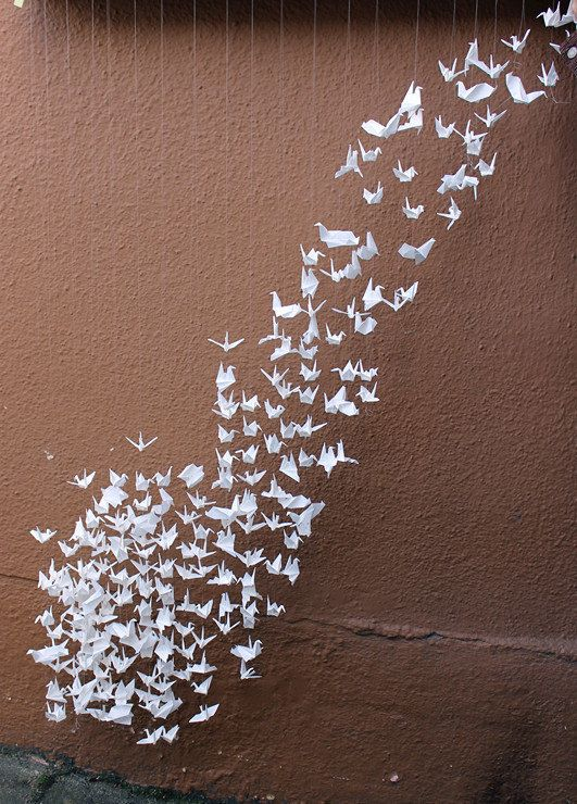 Flock of White Origami Cranes Paper Birds by myorigamiandyours (hanging from a tree)