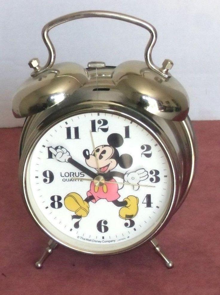 1980s Disney Mickey Mouse Lorus Quartz Two Bell Peg Leg Working Alarm Clock