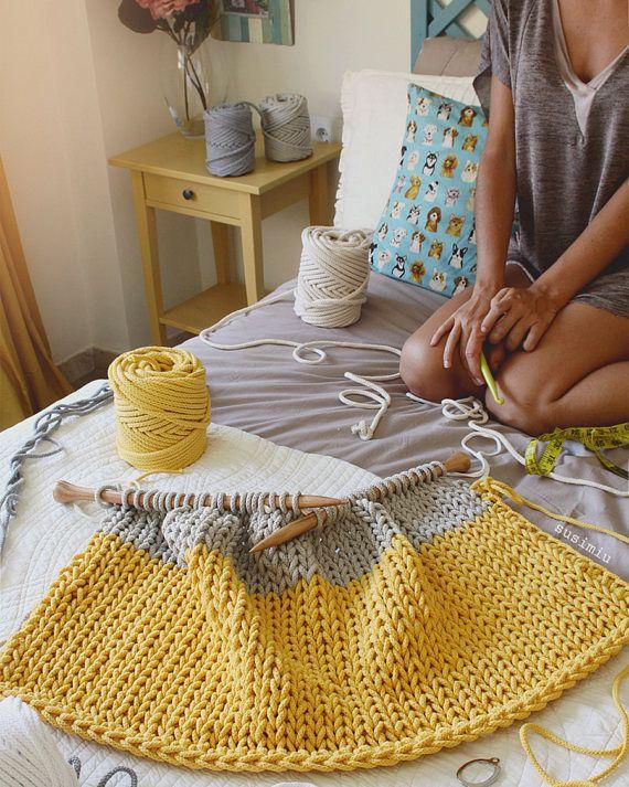 Tappeto in cotone intrecciato leggera a righe maglia fatti
