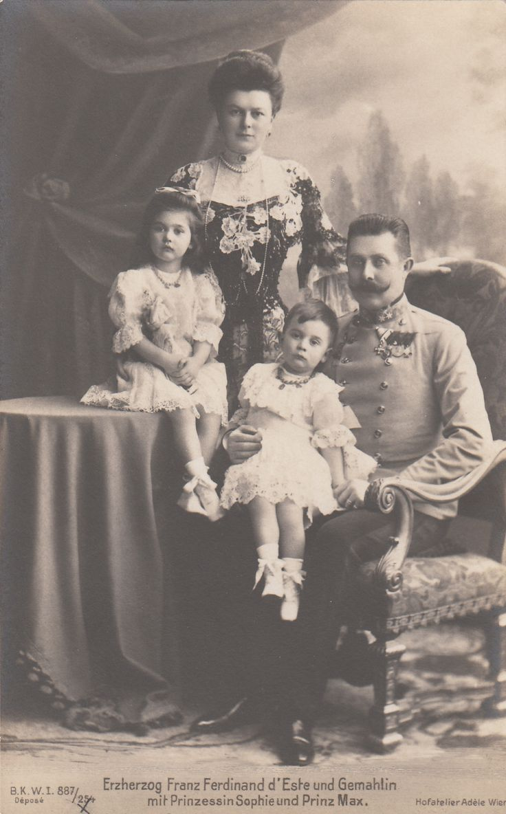 Archduke Franz Ferdinand of Austria, with his wife, Duchess Sophie of Hohenberg and their children: Princess Sophie and Prince Max of Hohenberg