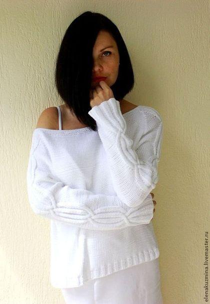 """Свитер """"Безе"""" - белый,свитер,хлопковый свитер,хлопок,лето,летний свитер"""