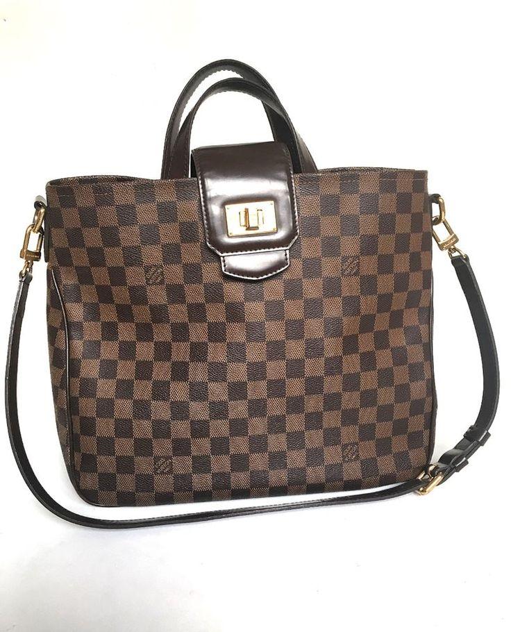100% Authentic Louis Vuitton Cabas Rosebery Damier Ebene Shoulder Bag Leather  #LouisVuitton #ShoulderBag