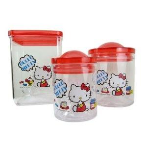 3 Piece Hello Kitty Tupperware Set - Hello Kitty Kids Dinnerware