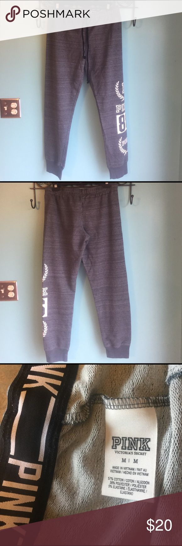 VS PINK Skinny Sweats NWOT Dark Grey Marled Sz M VS PINK Skinny Sweats NWOT Dark Grey Marled Sz Medium PINK Victoria's Secret Pants Track Pants & Joggers