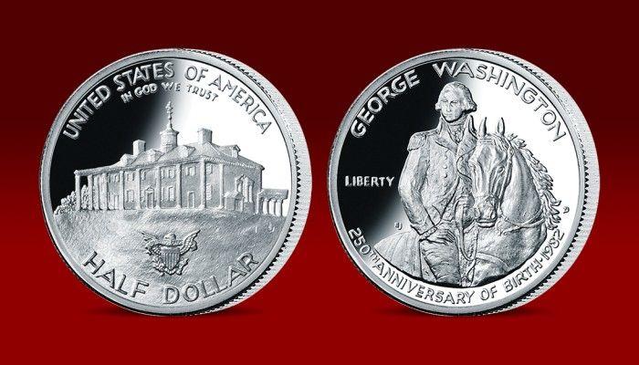 George Washington - první prezident USA, oficiální stříbrný půldolar