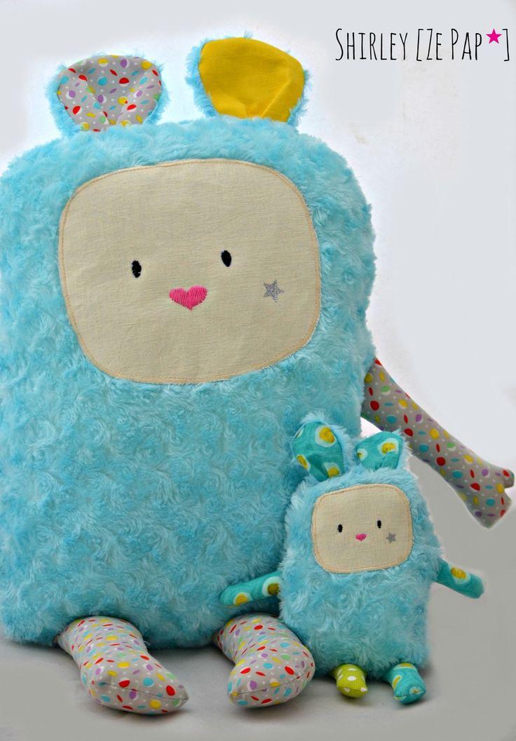 Trés gros coussin doudou personnalisé, doudou géant, 70 cm de haut, fourrure et coton : Linge de lit enfants par shirleyzepap