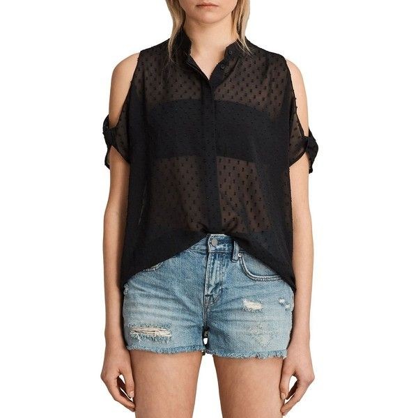 Allsaints Irie Cold-Shoulder Shirt (£131) ❤ liked on Polyvore featuring tops, black, open shoulder top, sheer shirt, cut out shirts, chiffon tops and embroidered top