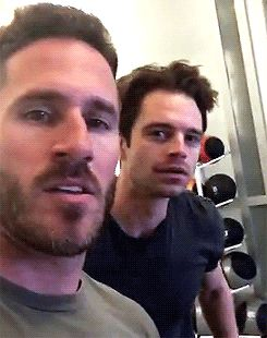 "Seb and that fuckin' smile; killing me softly.  sebastiansource: "" In the gym with trainer Don Saladino (12 September 2016) """
