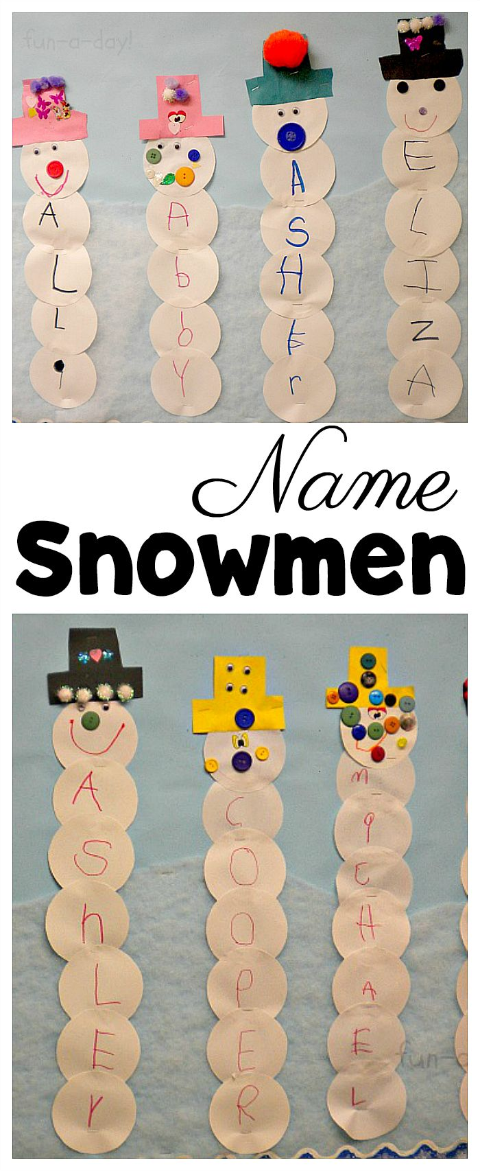 Make name snowmen for a super fun winter activity for preschoolers