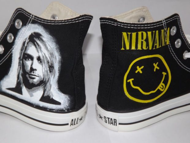 Hand Painted Custom Kurt Cobain Nirvana Converse All Star Hi Black ...