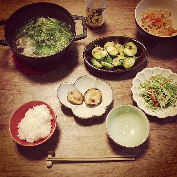 晩ごはん クレソン鍋 芽キャベツのアンチョビソテーとか #sakeat - @sakkn- #webstagram