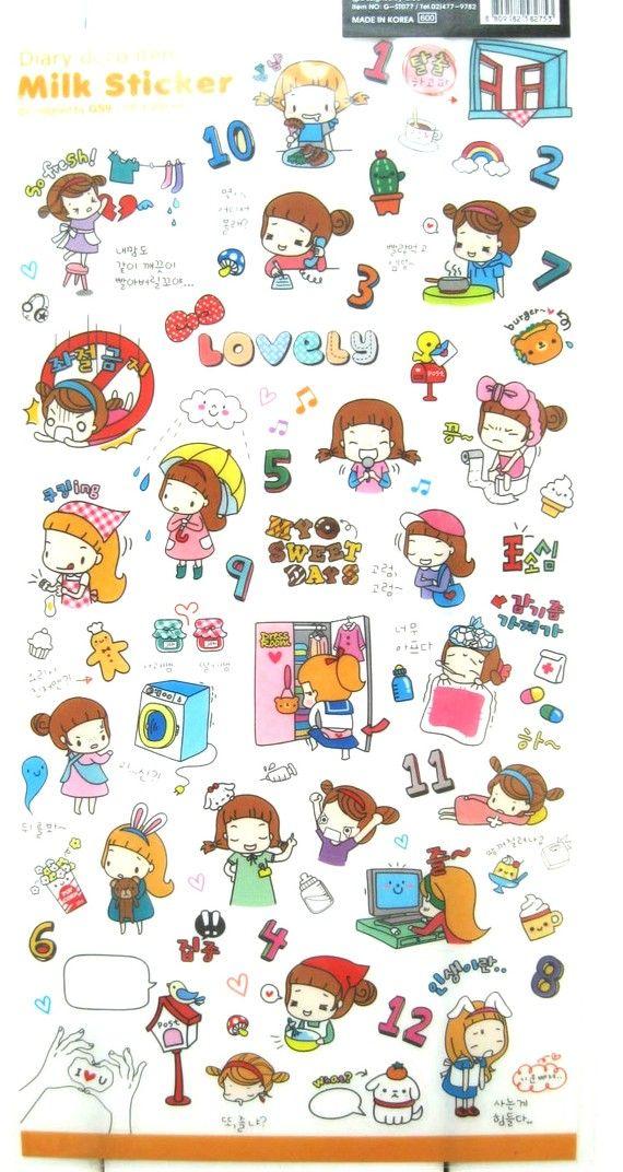 Kawaii Cute Colorful Little Gir Travel School Milk Cartoon Scrapbook Stickers $12 for 5 sheets